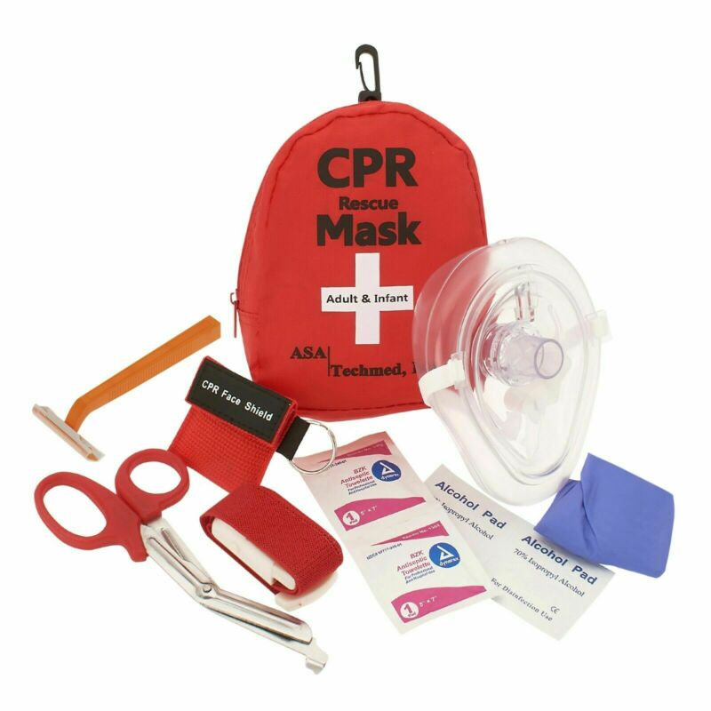 Aed First Aid Kit-cpr Rescue Mask With Case, Razor, Tourniquet, Emt Shears +more