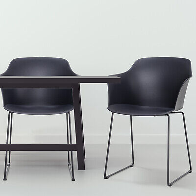 HOMCOM 2 PCs Dining Chairs Home Furniture Curved Plastic Seat Kitchen Grey
