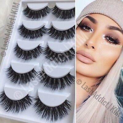 5 PAIRS Mink Lashes Eyelashes 3D WISPY Eyelash Extension Makeup Fur | US (Eyelashes Makeup)