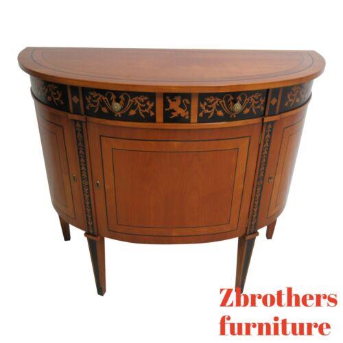 Decorative Crafts Satin Wood Demi Lune Console Server liqour Cabinet English B