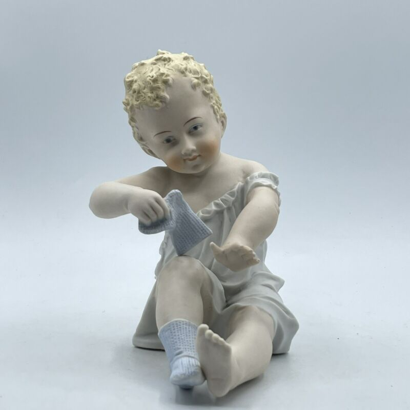 Vintage Porcelain Bisque Piano Baby Large  Figurine Baby With Socks No. 71