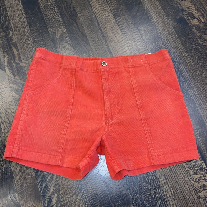 """Vtg 70s 80s WEEDS Red CORDUROY Shorts Cotton surf Mens 34 36 cord 4"""" Inseam"""