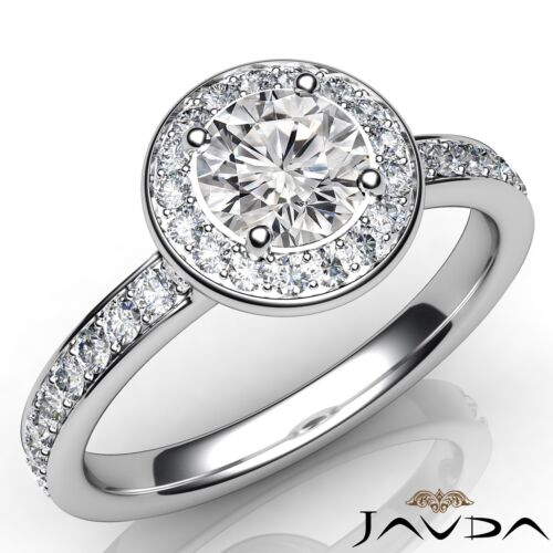 Natural Round Diamond Engagement GIA D VS2 Platinum Halo Pave Set Ring 0.95ct