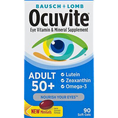 Ocuvite Eye Vitamins - Bausch Lomb  Ocuvite 50+ Adult Eye Vitamin 90 Mini Gels NEW-SEALED BOX Exp 10/20