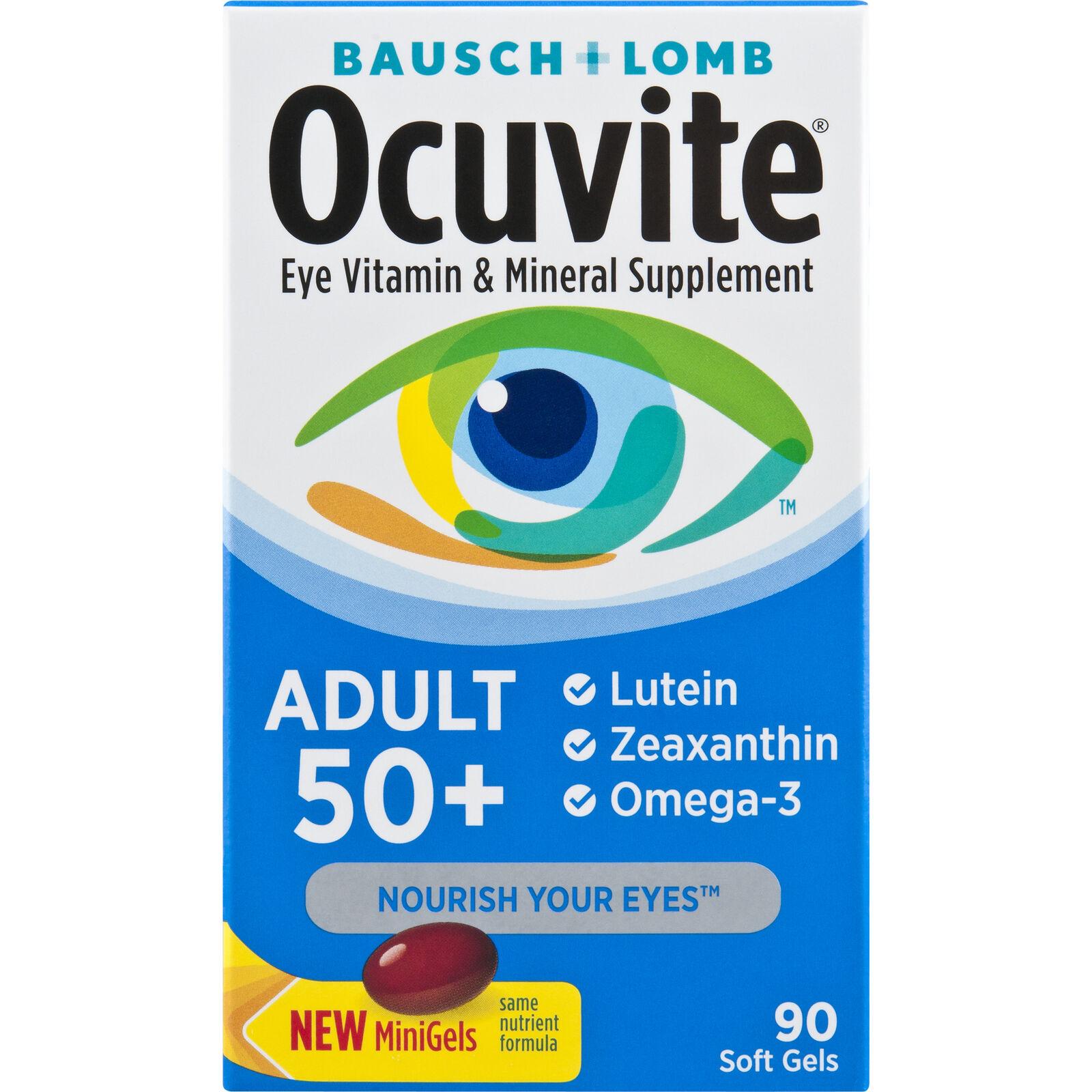 Bausch Lomb  Ocuvite 50+ Adult Eye Vitamin 90 Mini Gels NEW-