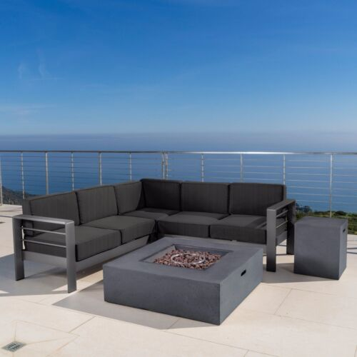 Coral Bay Outdoor Grey Aluminum 5 Piece V-Shape Sectional Sofa Set with Fire Tab Home & Garden