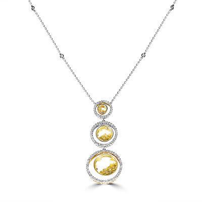 Gelb Diamanten - Halskette & Anhänger 3.57ct Natürlich Kostüm Diamanten 18K - Kostüm Diamant Halskette