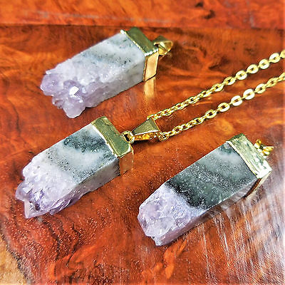 - Amethyst Necklace Square Cut Druzy Crystal Gold Pendant A39 Healing Crystals