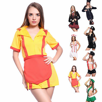 Ladies 4 Styles Role Play Fancy Dress Sexy Cop Nurse School Girl Cosplay Outfit](Girl Cop Costume)