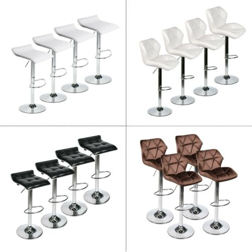 Set Of 4 Pub Bar Stools Height Chair Adjustable Swivel Seat Counter Kitchen Seat