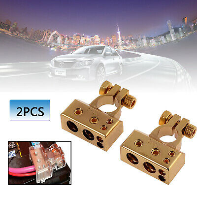 2pcs Car Battery Gold Terminals Positive Negative Heavy Duty Plated Connectors
