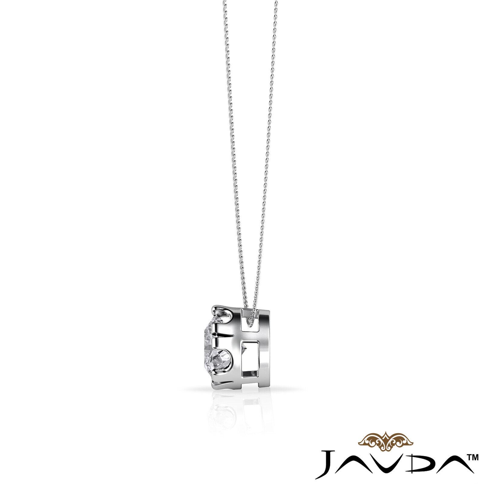 Solitaire Round Shape Diamond Double Prong Pendant 18 Inch Rolo Chain 0.26 ctw. 4