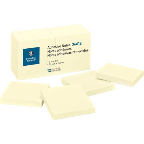 """Sticky Notes 3"""" x 3"""" Yellow 100 Sheets/pad, 12 Pads"""