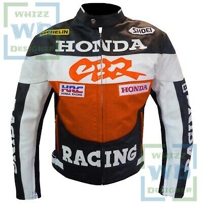 BEST MOTORCYCLE JACKET. Orange Honda CBR Motorbike Leather Armour Riding