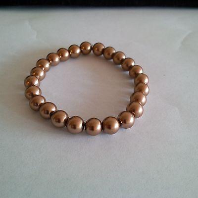 Glass Pearl Light Brown  Beaded Stretch Bracelet ()