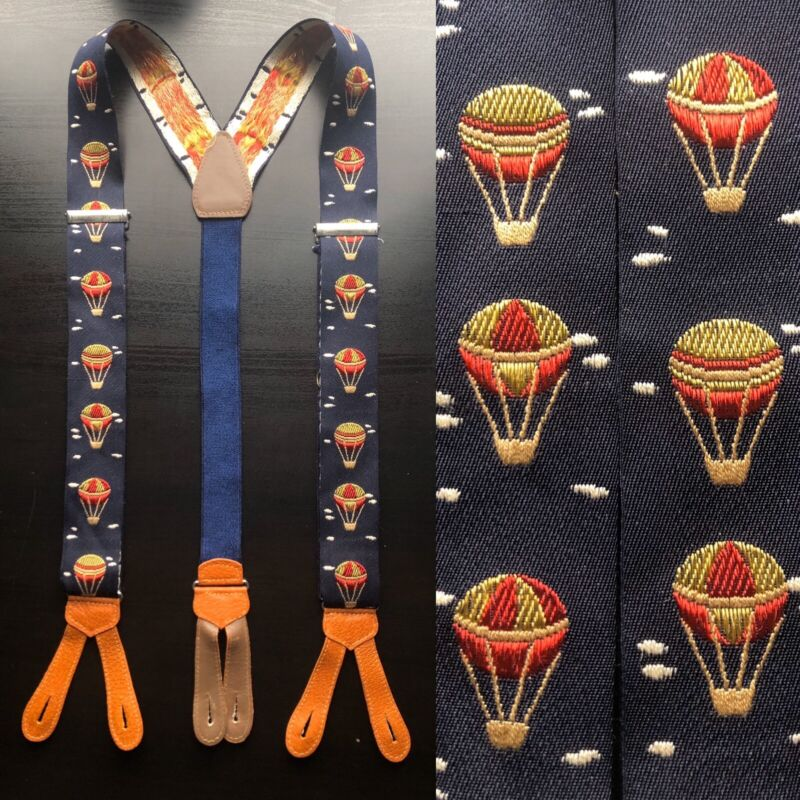 "Vintage ""Hot Air Balloons"" Embroidered Navy Suspenders EUC VTG Ivy Trad Braces"