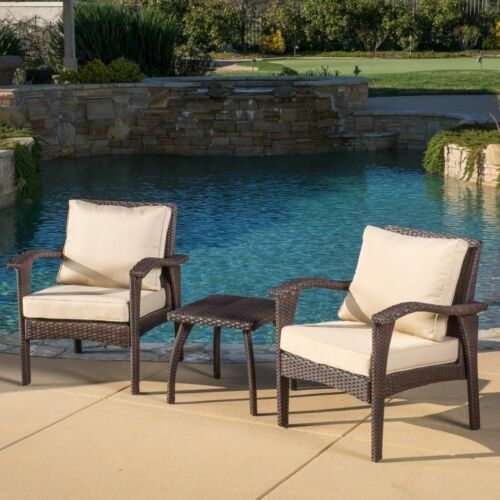 Maui Outdoor 3-piece Brown Wicker Chat Set with Cushions Home & Garden