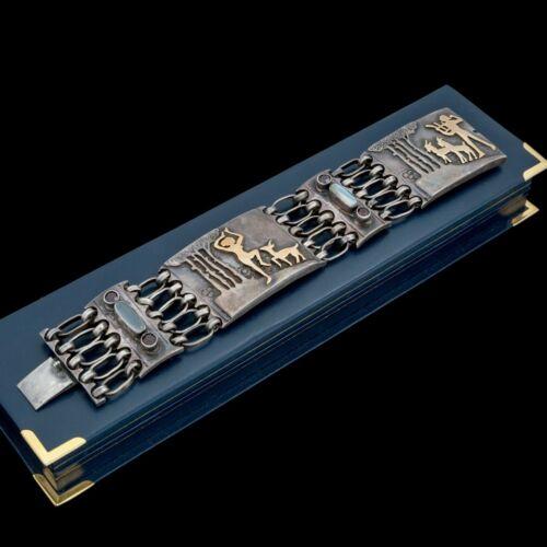 Antique Vintage Deco Retro Sterling Silver 18k Gold Moonstone Garnet Bracelet