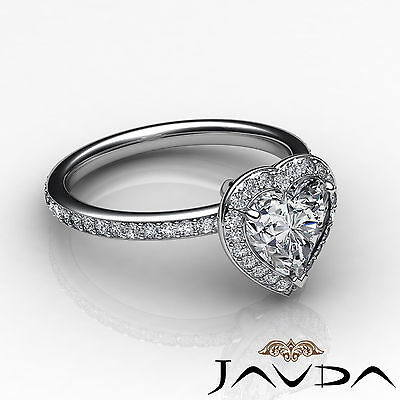 2 ct Halo Pave Heart Diamond Engagement Brilliant Ring 14K White Gold F SI1 GIA 3