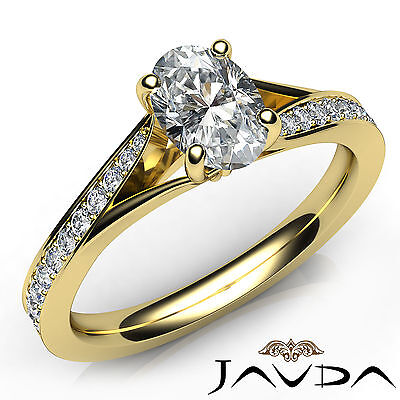 Cathedral Split Shank Oval Diamond Engagement Micro Pave Ring GIA D SI1 0.85 Ct