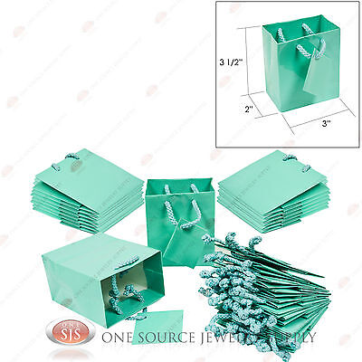 """25 Glossy Teal Blue Finish Paper Tote Gift Merchandise Bags 3"""" x 2"""" x 3 1/2""""H"""