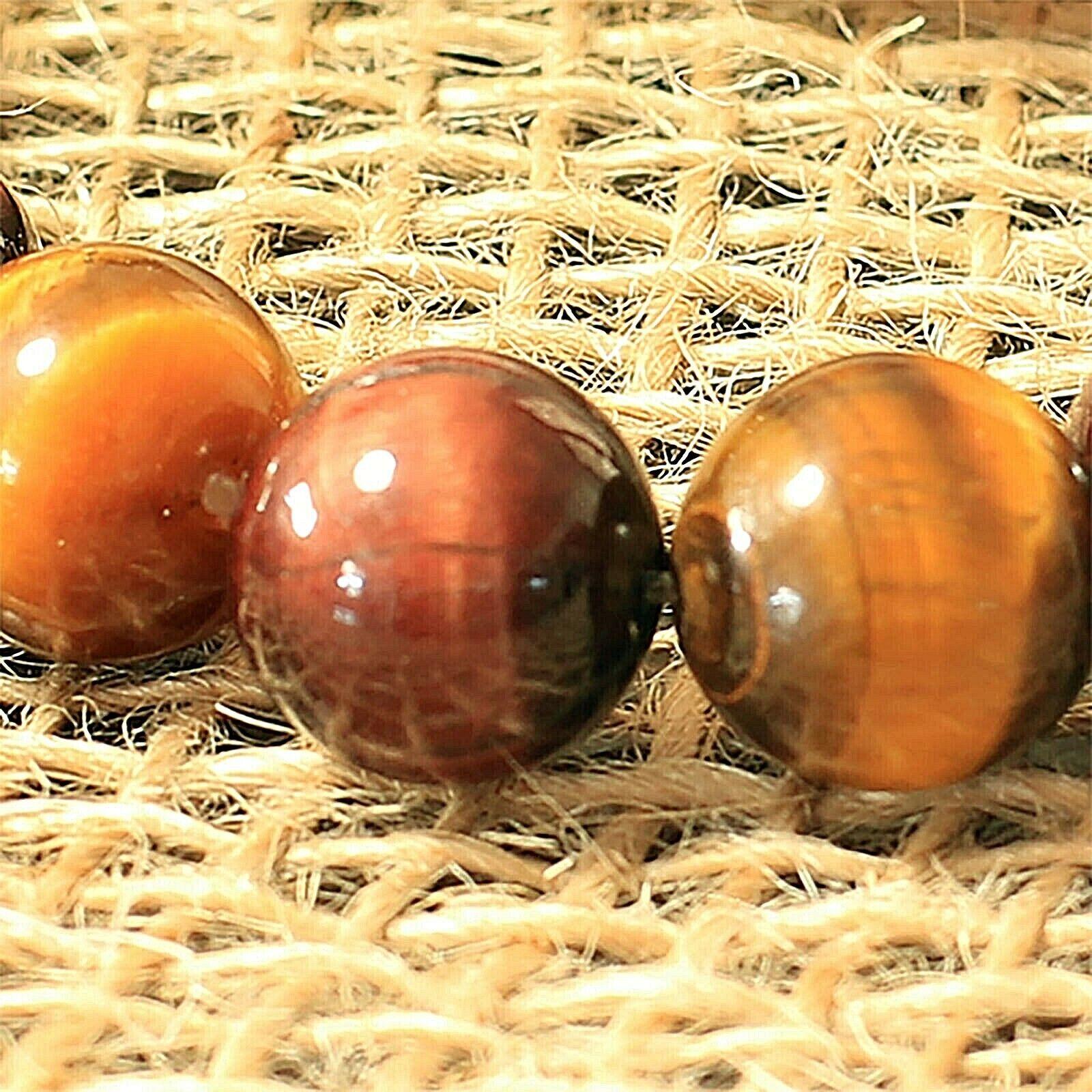 10 mm Red/Yellow Tiger Eye Beaded Healing Bracelet Men/Women Chakra Gem Stone 2