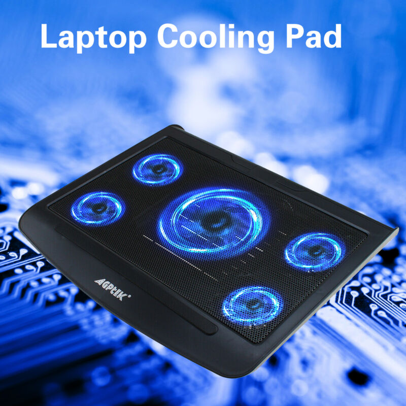 Portable USB Laptop Cooling Pad LED 5 Fans Cooler Adjustable PC Coolpad Stand