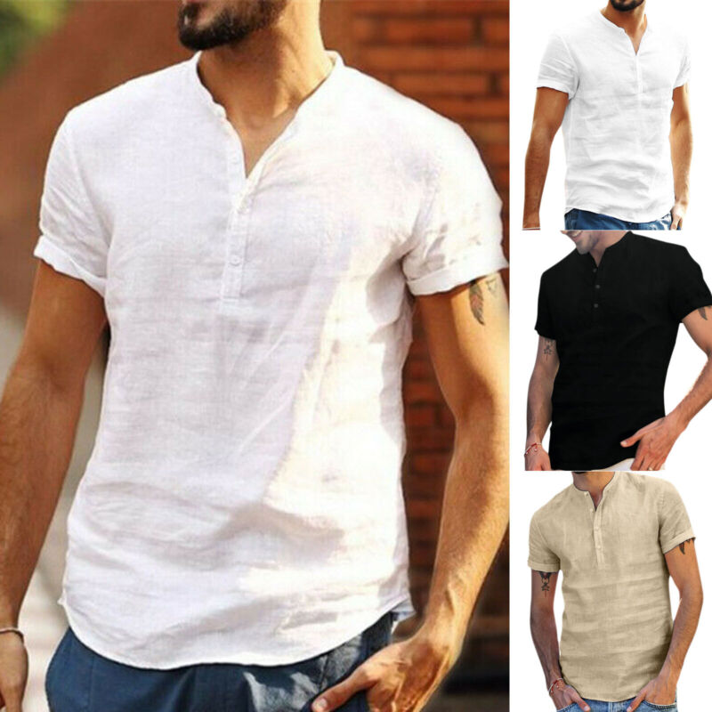 Mens Short Sleeve Henley Shirt Loose Fit Summer Beach Casual Plain T-Shirt Tops Casual Button-Down Shirts