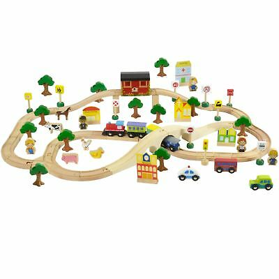 LARGE WOODEN TRAIN SET - 80 Piece With Play Accessories by bopster