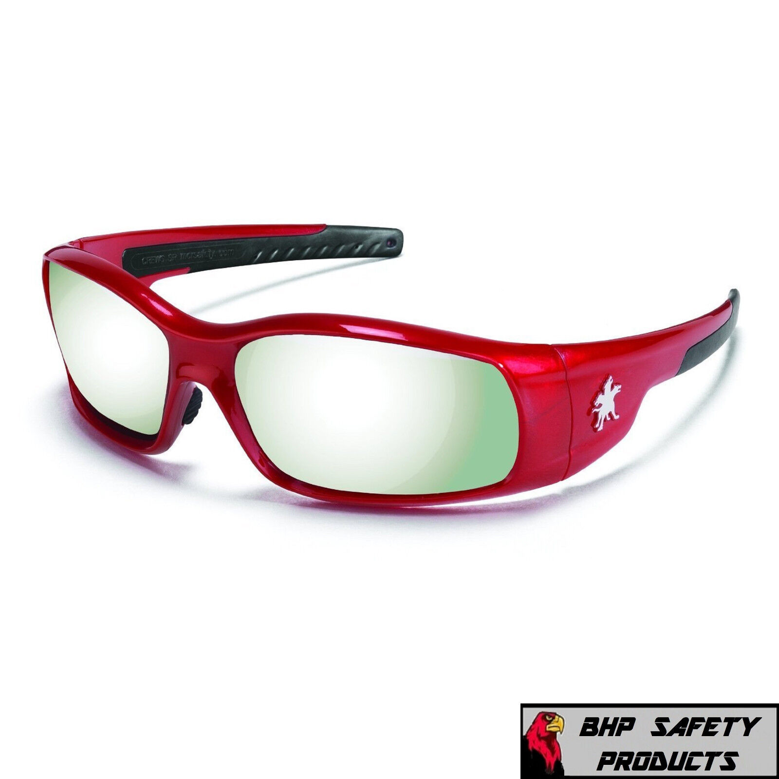 MCR CREWS SWAGGER SAFETY GLASSES SUNGLASSES WORK SPORT EYEWEAR CHOOSE YOUR COLOR SR137 SILVER MIRROR/RED FRAME