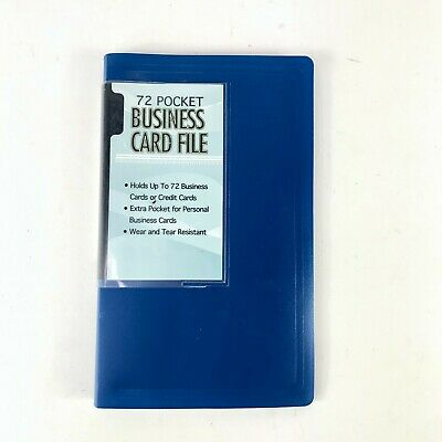 72 Business Card Book File Holder Pouch Organizer - Blue