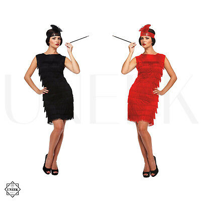 Ladies Flapper Fancy Dress Costume 1920s Womens Straight Tassel Dress Halloween](1950s Gangster Halloween Costumes)