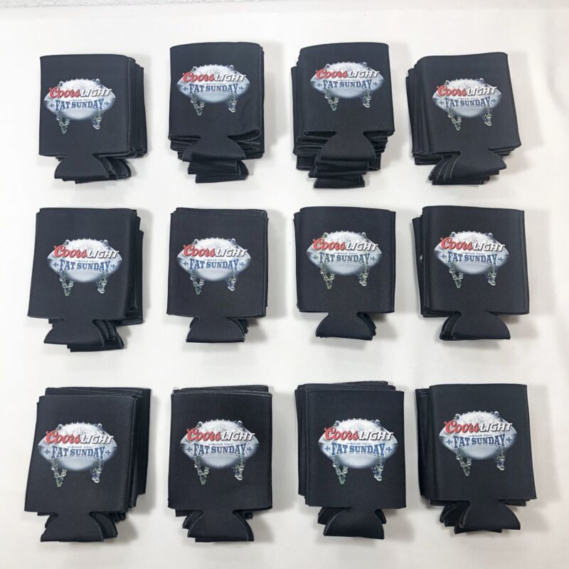 Lot of 6 Coors Light Beer Can Bottle Koozie Coozie Road To Fat Sunday- NEW