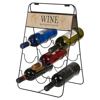 Metal Wire Wine Rack (9 Wine Bottles Vintage Wire Wooden Metal Rack Storage Holder Bar Display Stand )