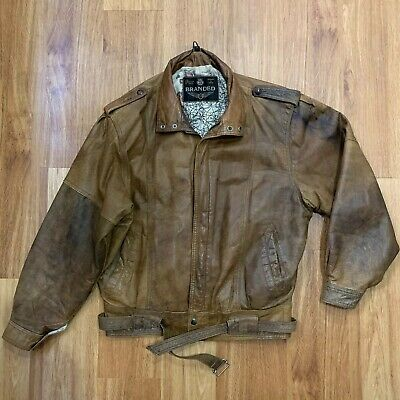 VINTAGE 90s GENUINE LEATHER JACKET Medium Relaxed Fit Belted Retro