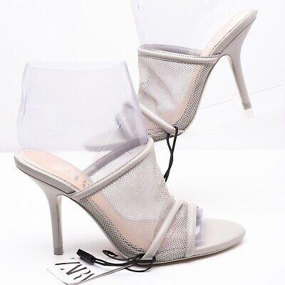 Zara Womens High Heel Mesh Sandals Sz 6.5 Eu 37 Grey Pumps 5625/001 Open Toe NWT