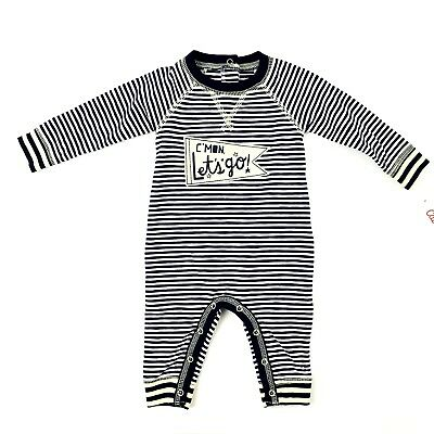 Cat and Jack Striped Coverall Size Newborn Baby Navy Blue White Long Sleeve   segunda mano  Embacar hacia Argentina