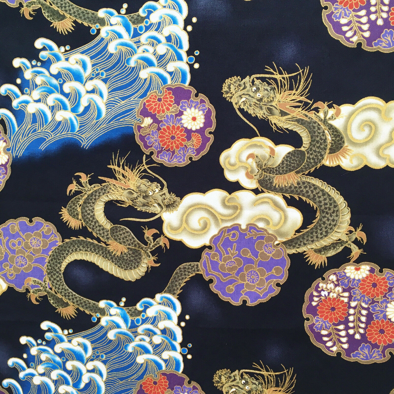 blueberries beads oriental Japanese Chinese style gold blue Metallic fabric