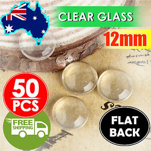 50pcs Clear Round Domed Glass Cabochons 12mm Flat Back Transparent DIY Jewelry