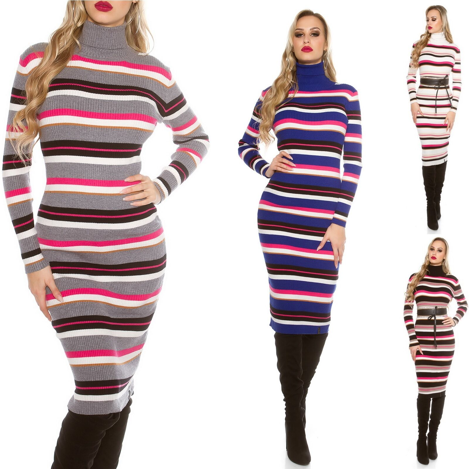545e1fb1083 Details about Women s Striped Turtleneck Midi Sweater Dress - One Size  (s M L)