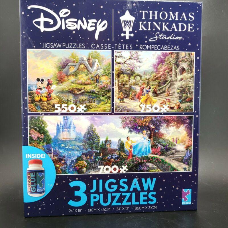 Disney Thomas Kinkade 3-1 Jigsaw Puzzle Minnie Mouse Snow White Cinderella NEW