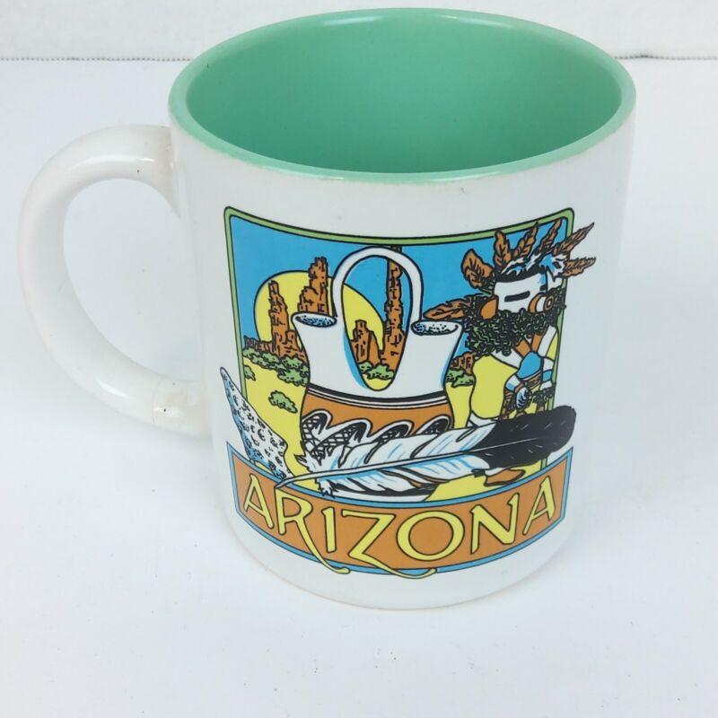 VTG Arizona Mug Souvenier Rt 66 Southwest Vacation Green Inside