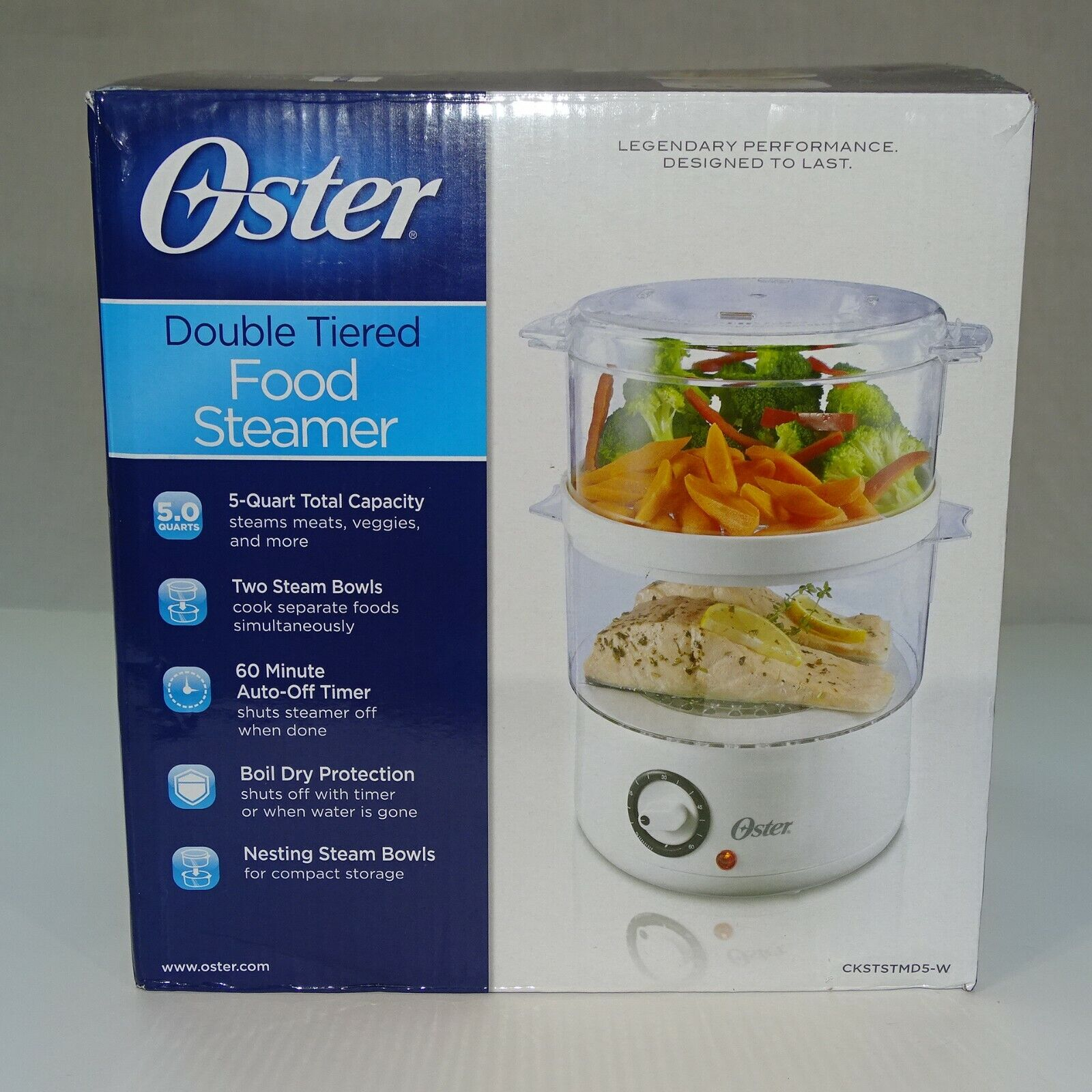 OSTER DOUBLE TIERED FOOD STEAMER COOKER 5 QT WHITE 2 STEAM B