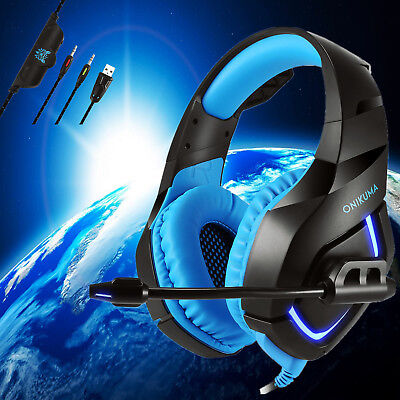 ONIKUMA K1 Gaming Headsets Headphones for PS4 New Xbox One PC with Mic Blue