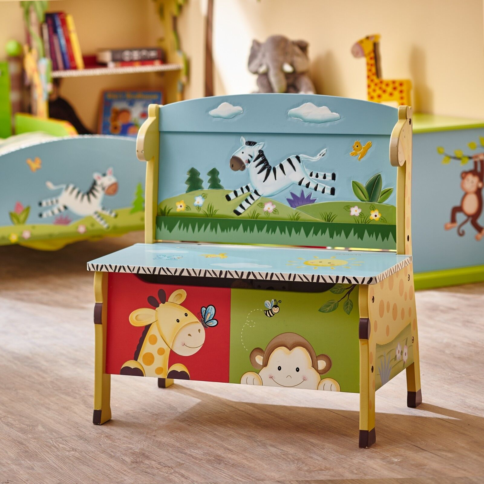 Kids wooden toy chest sunny safari - Childrens Sunny Safari Animals Themed Kids Wooden Toy Box Storage Bench 9 123 50 9 Of 10