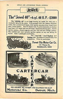 1908 AD Forest City Jewel 40 Cartercar Motorcar Baker Electric Car Auto Automob