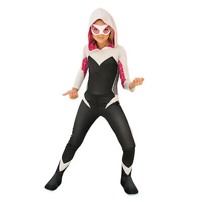 Child Girls Marvel Ghost Spider Gwen Halloween Costume Jumpsuit Eye Mask S M L