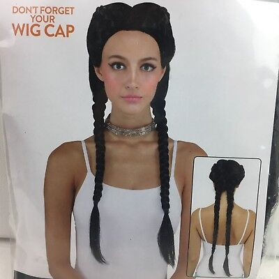 Halloween Costume Black Pigtails Braids Adult Wig Vampire Center Part Maid Wench - Halloween Pigtails
