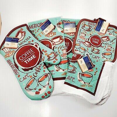 7 Pc Kitchen Set Oven Mitt Towels Pot Holders Dish Cloths Coffee Time Cafe Mocha Kitchen Towels Mitt