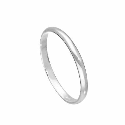 925 Real Sterling Silver 2mm D Shaped Wedding Band Ring Size 2¼-11¼ Plain Small D-shaped Band Wedding Ring